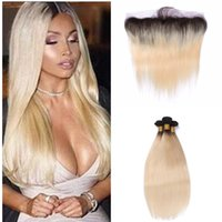 Ombre Blonde Hair With Lace Frontal 1b 613 Sliky Straight Human Hair Bundles With 13*4 Full Lace Frontal Brazilian Virgin Hair 8a Grade
