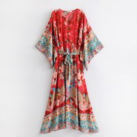 Red boho beach dresses women 2018 new chic floral printed ma...