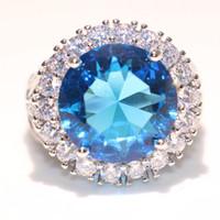 Taille 6-10 Drop Shipping De Luxe Bijoux En Argent Sterling 925 Grand Aquamarine CZ Cristal 12CT Femmes De Mariage Bague D'éternité Pour Amant Cadeau