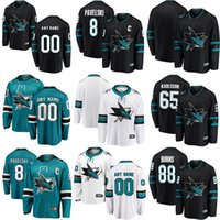 2018 Hombres Mujeres Hombres Personalizados San Jose Sharks 88 Brent Burns 8 Joe Pavelski 31 Martin Jones 19 Thornton 39 Couture 48 Hertl Hockey Jersey