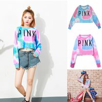 Pink Letter Sweatshirt crop top Pullover Hoodie Women Colorf...