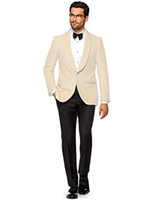 Casual 2020 Summer Beige Hommes Costumes Shawl Lapel Custom Made Slim Fit Costumes de mariage Epoux Groomsmen 2piece Best Man Prom Terno Masculino