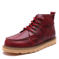 Warm Men' s Winter genuine Leather Ankle Boots Men Autum...