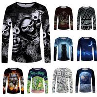 Skull Manica lunga T Shirt Gun Vestiti Punk Abbigliamento Gothic Tshirt divertente T-shirt T-shirt T-shirt T-shirt T-shirt Uomini Hip Hop Punk Alta qualità