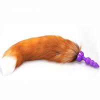 Ture Fox Tail Anal Plug Silicone Anus perline Stimolatore per culo in giochi per adulti Flirtare giocattoli per le donne, prodotti erotici fetish fetish