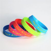 50PCS lot Medical Alert Nut Allergy Silicone Wristband Kids ...