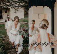 2019 Modest A- Line Bohemian Wedding Dresses V- Neck Beach Bac...