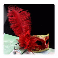 Feathered Venetian Masquerade Masks Half Face Lily Fancy Bal...