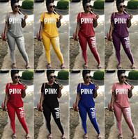 Pink Letter Print Tracksuits Women Sport Suit Sets Two Piece...