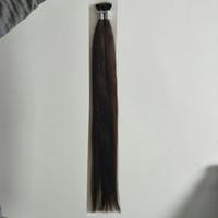 """ELIBESS Hair-Russian Remy Nano Ring Extensions capelli umani 16 """"- 26"""" 100s / set stick tip nano ring estensioni dei capelli 2 # marrone scuro"""