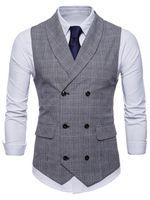 2018 패션 망 SIM 맞는 더블 브레스트 슈트 조끼 격자 무늬 조끼 양복 조끼 남성 공식 드레스 비즈니스 와이토 코트 콜레트 Masculino