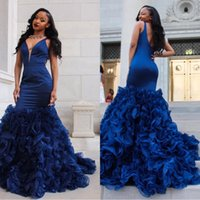 2018 Vintage Royal Blue Prom Dresses Evening Gowns Sexy Deep...