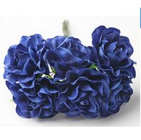 30 Pieces 1. 5inch Diameter Royal Blue Artificial Silk Rose F...
