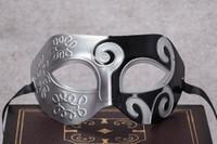 Astilla Negro medias caras Máscara para los hombres Gladiador Romano máscara veneciana del carnaval de la mascarada del partido del traje de Halloween Maks