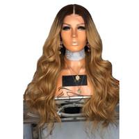 150% 180% 250% Densité Ombre Racine noire 1b / 27 Perruques de cheveux humains avant de dentelle blonde au miel pour femmes préplumées cheveux remy brésiliens