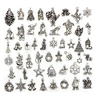 50Pcs Lot Hot Sale Christmas Charms Metal Pendant Tibetan si...