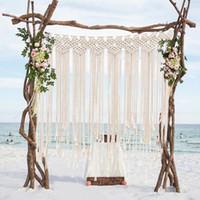 Décorations Boho de soirée de mariage Photo Booth Toile de fond corde de coton macramé Tenture Bohême Tassel Rideau pour Décorations de mariage Chambre