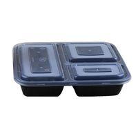Am billigsten !!! US AU Mikrowelle umweltfreundliche Lebensmittelbehälter 3 Fach Einweg Mittagessen Bento Box schwarz Mahlzeit Prep 1000ml