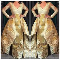 Elegant Evening Long Formal Party Dresses Lace Long Sleeve Evening Dress with Detachable Train Deep V-Neck Plus Size Arabic Celebrity Gowns