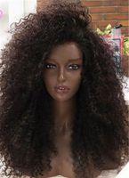 Монгольский странный кудрявый полный кружева человеческих волос парики для волос Virgin без кружева передний парик для чернокожих женщин афро странные кудрявые парики волос