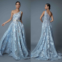 2019 Berta Blue Abiti da sera formale Una spalla Una linea di pizzo Prom Dress Backless Red Carpet Abiti da festa personalizzati