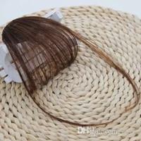 Neat Frente Falso Clipe Fringe Fina Em Blunt Bangs Preto / Brown peruca Com alta temperatura sintético Golden Hair Beauty