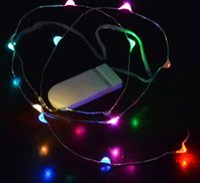 CR2032 버튼 배터리 작동 LED 구리 실버 와이어 요정 문자열 조명 크리스마스 장식 홈 웨딩 파티 2m 20LED