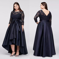 2018 Plus Size Formal Dresses with 3   4 Sleeves Jewel Neck ...
