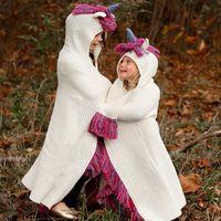 Kids Unicorn Hat Nappa con cappuccio Coperta Scialle a maglia Cap Cosplay Fotografia maglia coperta cappello capo LJJK1052