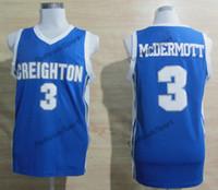 Mens Vintage Creighton Bluejayon Doug McDermott Colégio Basquetebol Jerseys Home Blue Doug McDermott # 3 Costurado Basquetebol Camisetas