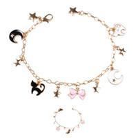 Yıldız ay ile akıllı bilezik kedi çiçek kolye kadın ve kız için sevimli bilezik ücretsiz kargo
