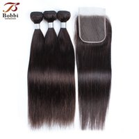 Color 2 Dark Brown Straight Hair Bundles with Closure Brazil...