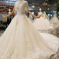Shiny Lace Wedding Gowns O- Neck Beaded Short Sleeves Backles...