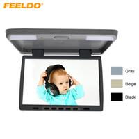 "FELELO DC12V 15.4 ""بوصة سيارة / حافلة TFT LCD سقف الخيالة مراقب فليب داون مراقب 2-طريقة إدخال الفيديو 3-لون # 1291"