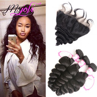 Human Hair Weft With Frontal Loose Wave 9A Malaysian Unproce...