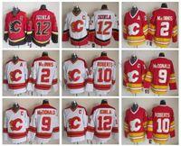 Hommes 12 Jarome Iginla Jersey Flames de Calgary 2 Al Macinnis 9 Lanny McDonald 10 Gary Roberts chandails de hockey cousus vintage