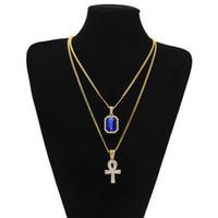Египетский Анкх ключ жизни Bling Rhinestone крест подвеска с красный рубин ожерелье Set Bling Bling Мужчины Мода Хип-хоп ювелирных изделий