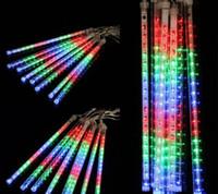 8PCS / 설정 30cm LED 강설량 LED 스트립 빛 크리스마스 조명 유성우 Falling Star Rain Drop 고드름 눈 Xmas 요정 빛 100-240V