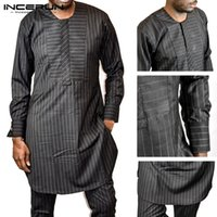 INCERUN Men Casual Long Shirt Kaftan African Clothes Striped...