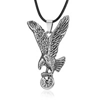 Ancient Stainless Steel Animal Pendant Leather Necklace Eagl...