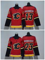 2018 Jugend-Kind-Calgary-Flammen-Trikots 13 Johnny Gaudreau 23 Sean Monahan Jungen-Trikots Authentische genähte Eis-HockeyJerseys