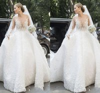 Latest Custom Made Wedding Dresses Jewel Long Sleeve Lace Ap...
