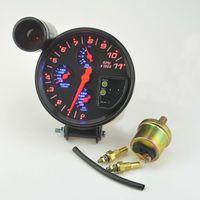 """Universal 5 """"negro 4 en 1 RPM tacómetro w / Shift temperatura del agua ligera / temperatura del aceite / presión de aceite / tacómetro"""