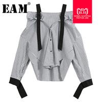 [EAM] 2018 Новый Осень Зима Слэш шеи с длинным рукавом черный плед пряжки Сплит совместное свободные рубашки женщины блузка мода прилив JH145