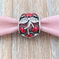 Autentiska 925 Sterling Silver Pärlor Silver Röd Emalj Söt körsbär Charm Passar European Pandora Style Smycken Armband Halsband 791900en