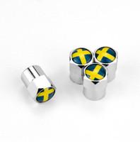 Bandiera Svezia Stile argento Mini metallo Valvole per valvole pneumatici Tappo antipolvere per pneumatici MT Distintivo per auto Distintivi per stemmi Valvola generale per pneumatici Tappo valvola per auto