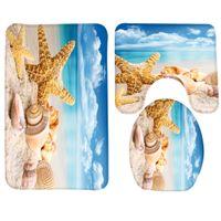 3 unids estera del cuarto de baño estrella de mar mar patrón de concha de baño alfombra de baño antideslizante alfombra de baño y productos de tocador