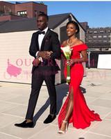 2019 Güney Afrika Stil Mermiad Nedime Elbiseler Kapalı Omuz Yan Bölünmüş Kırmızı Leke Hizmetçi Onur Düğün Misafir Kıyafeti Custom Made