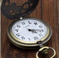 Antikes Kupfer Steampunk Vintage hohlen Bronze Gang Hohl Quarz Taschenuhr Halskette Anhänger Uhr Kette Männer Frauen