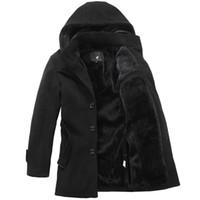 S-4XL Mens Woolen Cashmere Fleece Parkas Peacoat Chaqueta gruesa Outwear con capucha Invierno cálido Youth Long Nuevos abrigos Espesar